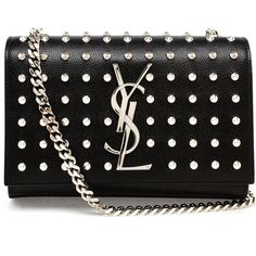 SAINT LAURENT Studded Mini Monogram Bag (2 580 AUD) ❤ liked on Polyvore featuring bags, handbags, clutches, bolsas, purses, borse, chain strap purse, monogram purse, special occasion handbags and studded purse
