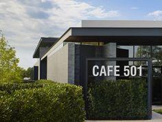 Café 501 by Elliott + Associates Architects, Oklahoma City hotels and restaurants Cafe Signage, Entrance Signage, Restaurant Signage, Restaurant Exterior, Exterior Signage, Wayfinding Signage, Restaurant Interior Design, Signage Design, Facade Design