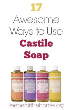 Have you heard about castile soap? It's crazy versatile and a little bit goes a long way! Great for the frugal mom who likes to stick to natural cleansers :) Here's 17 awesome ways to use castile soap, plus info on how to get some for free! Homemade Cleaning Products, Cleaning Recipes, Natural Cleaning Products, Cleaning Hacks, Cleaning Solutions, Household Products, Natural Products, Cleaning Supplies, Cleaning Checklist