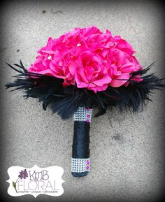 Hot Pink Silk Wedding Bouquet Wrapped in Black Ribbon by KMBFloral