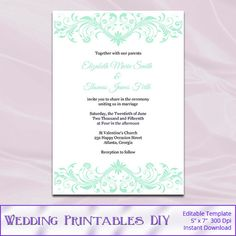 Mint Wedding Invitation Templates Diy Printable Light Green And White Invites Template Editable Text