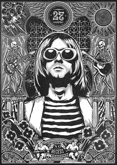 The 27 club is a collaboration between Tomall and Pedro Oyarbide. The piece explores Kurt Cobain, a cultural icon, and the elements that have lead to his demise. Rock And Roll, Pop Rock, Musik Illustration, Creative Illustration, Kurt Cobain Art, Kurt Cobain Tattoo, Nirvana Art, Rock Band Posters, Band Wallpapers