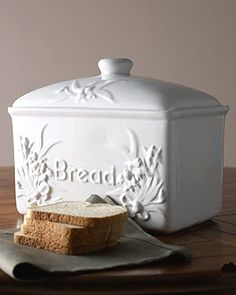 Beautiful White Bread Container