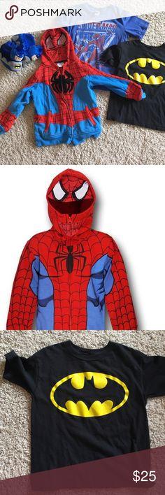 Spotted while shopping on Poshmark: Size 6/7 superhero bundle. Spider-Man & Batman! #poshmark #fashion #shopping #style #Junk Food Clothing #Other