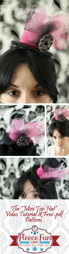 "You can make a mini top hat with this FREE pattern and video tutorial! comes in multiple mini sizes! Great for mad hatter tea parties. - would be cute for ""Disney day"" spirit days at school with ""mad hatter"" colored outfit. Mad Hatter Party, Mad Hatter Tea, Costume Halloween, Chesire Cat, Diy Accessoires, Hat Tutorial, Alice In Wonderland Tea Party, Diy Hair Accessories, Red Hats"
