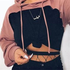 Drop-shoulder front cut out hoodies sweatshirt 2018 Women's fashion pink hoodie with hooded Punk rock pullovers female autumn Mode Outfits, Trendy Outfits, Fall Outfits, Ladies Outfits, Summer Outfits, White Outfits, Sweater Outfits, Classy Outfits, Pink Fashion