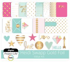Gold foil is all the rage and this kit is no exception. The soft colors and touches of gold throughout are stunning! Digital Project Life, Project Life Cards, Heidi Swapp, Printed Pages, Touch Of Gold, Book Girl, Soft Colors, Gold Foil, Paper Crafts