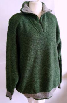 Burlington   zipper  Sweater Green SIZE 3XL 60% LANA #Burlington #zipper