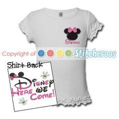 Stitcheroos custom embroidered First Trip to Disney onesie.
