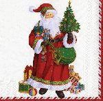 Caspari St Nick Ivory 3-Ply Dinner Napkins Wholesale 11400D   Designer Print Napkins   Christmas Napkins   Santa Claus Napkins