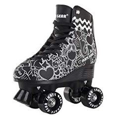 Skate Gear Graphic All-purpose Indoor Outdoor Speedy Roller Skate Outdoor Roller Skates, Retro Roller Skates, Roller Skate Shoes, Quad Roller Skates, Roller Skating, Roller Derby, High Top Boots, High Top Sneakers, Rollers