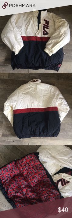 Vintage Fila jacket in mint condition! Beautiful vintage Fila jacket! Size M but will fit an X or XL. Super warm and comfy perfect for skiing. Has two pockets on the outside and two zippers on the side and a zipper along the chest. Fila Jackets & Coats Puffers