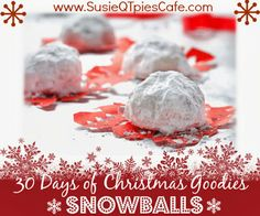 Almond-Apricot Snowballs Holiday Hop of Goodies Skinny Mini Dessert from SusieQTpies Cafe Christmas Goodies, Christmas Treats, Christmas Time, Christmas Cooking, Merry Christmas, Holiday Recipes, Candy Recipes, Christmas Recipes, Baking Recipes