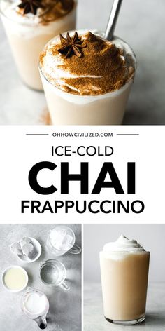 Chai frappuccino is a frozen drink made easy and delicious at home with just 5 ingredients. Chai is a drink made with black tea and spices. Sweet and so refreshing, it makes for a perfect summer treat! #chaitea #frappuccino #tearecipes #drinkrecipes #easyrecipe #blacktea Starbucks Chai Frappuccino Recipe, Homemade Frappuccino, Milk Tea Recipes, Drink Recipes, Chai Recipe, Frozen Coffee, English Breakfast Tea, Tea Latte, Yummy Drinks