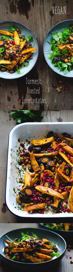 Turmeric Roasted Sweet Potatoes - Vegan