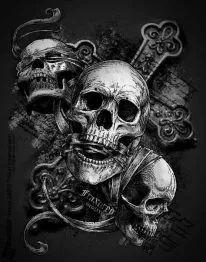 See no evil, speak no evil, hear no evil Skeleton Tattoos, Skull Tattoos, Body Art Tattoos, Sleeve Tattoos, Evil Skull Tattoo, Evil Tattoos, See Tattoo, Back Tattoo, Sugar Skull Tattoos