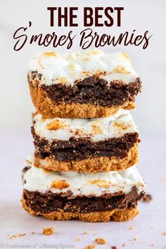 dessert recipes The best dessert mash up, smores + brownies will be your new favorite! Starting with a graham cracker crust topped with brownie batter baked and topped with chocolate chunks and toasted marshmallows! Perfect for your next party dessert! Köstliche Desserts, Best Dessert Recipes, Gourmet Recipes, Delicious Desserts, Yummy Food, Brownie Desserts, Recipes Dinner, Easy Desert Recipes, Bar Recipes