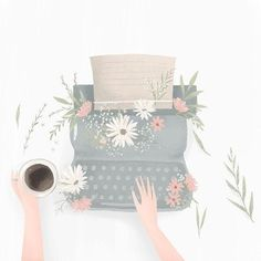 Typewriter designed by Artnis. the global community for designers and creative professionals. Illustration Noel, Buch Design, Poster S, Aesthetic Art, Cute Wallpapers, Cute Drawings, Cute Art, Art Inspo, Art Sketches