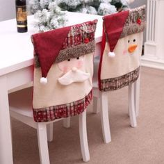 Santa Claus Embroidered Chair Back Cover for Christmas Kitchen Dinner Chair Covers Decorations Chair Back Covers, Dining Chair Covers, Chair Backs, Snowman Decorations, Christmas Table Decorations, Decorating For Christmas, Dining Decor, Dining Chairs, Kitchen Chairs