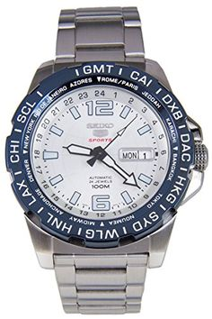Seiko 5 Sports Automatic White Dial Stainless Steel 100M Mens Watch SRP687 ** Click image for more details.