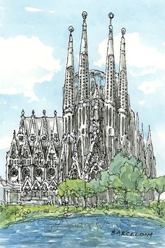 Titel: Barcelona Sagrada Familia This is an archival quality print from my original pen drawing and watercolor painting. Printed on Epson Archival