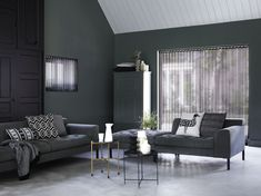 #dark #space #living #room #grey #green #black #design #seethrough #lamelgardiner #stiladk Sofa, Couch, Living Room, Space, Dark, Grey, Modern, Furniture, Design