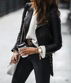 Black Leather Jacket Outfit, Gucci Leather Jacket, Gucci Jean Jacket, Biker  Jacket Outfit 91bb7062080