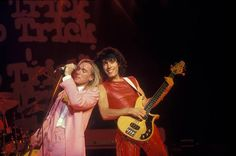 Lead singer Robin Zander and bass guitarist Tom Petersson of the American rock band Cheap Trick performing at Madison Square Garden on the 'All Shook...