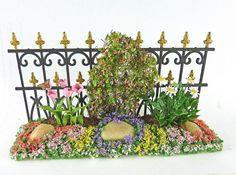 Dollhouse Miniature Artisan Spring Flowers Black Iron Fence Long   eBay