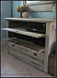 Broken drawers on vintage furniture? Put them on hinges.