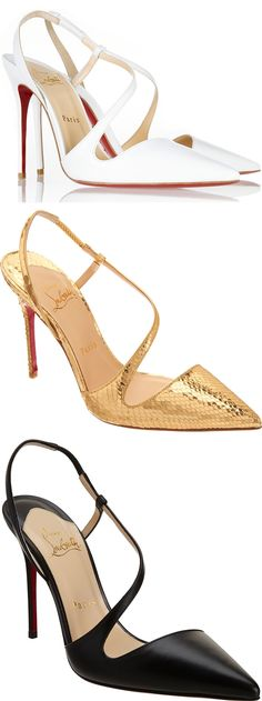 """Christian Louboutin """"June"""" pumps featuring a thin asymmetrical band that elegantly wraps the foot"""
