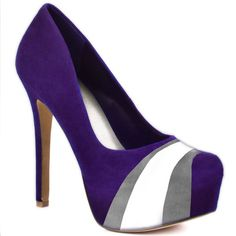 HERSTAR™ Purple Grey White Team Color Suede Pumps. Use promo code KKM$10 to save $10 off $79.99 at checkout!
