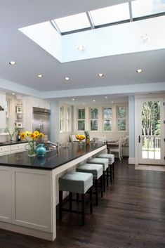 simple contemporary kitchen, breakfast area bay window