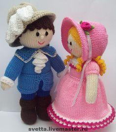 """Купить """"Мадемуазель и ее кавалер"""" вязаные куклы - вязаная кукла, кукла, интерьерная кукла, мальчик ♡"""