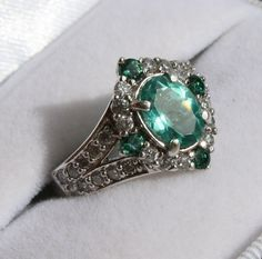 Natural Apatite  Cz Ring by lovelaurahs on Etsy