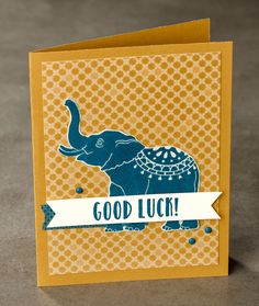 We love the hand carved look of this lucky fella. The new Good Luck Elephant set is now available! #stampinup #OccasionsMini2017