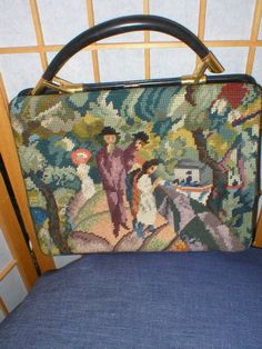 Vintage 50s victorian needlepoint leather handbag by di antique, $59.00