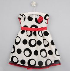 Olive Dress with Flocked Circles