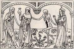 La danse macabre  Ce thème a été reproduit en de nombreux endroits. Le plus célèbre était peint sur les murs du cimetière des Innocents à Paris, avec des textes de Gerson.  Le sujet : des couples de figures, un mort qui saisit un vivant, 32 personnages . Tous les états de vie y figurent, du pape à l'empereur, jusqu'au laboureur et à l'enfant. Tout homme est mortel, tous sont égaux devant la mort. Tous seront jugés selon leurs mérites  Le cimetière a été détruit en 1633, mais la danse macabre…
