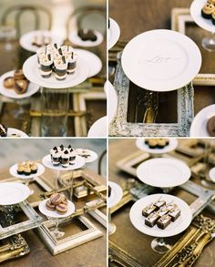 An Engagement Party Inspired by Chocolate---Love the use of frames and little dessert plates on glasses on the dessert table Dessert Buffet, Dessert Bars, Dessert Plates, Love Chocolate, Chocolate Desserts, Green Wedding Shoes, Purple Wedding, Gold Wedding, The Design Files
