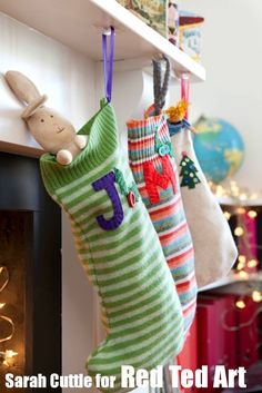 What to do with your outgrown/ hole-y / or stained Christmas Jumpers from years gone by... turn them into ADORABLE stockings for the family. Super easy and LOOK GREAT!