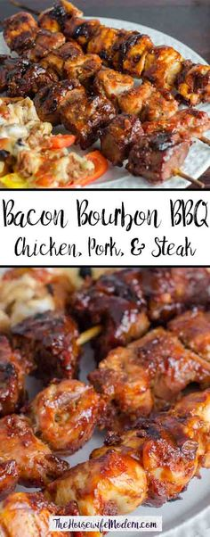 Bacon Bourbon BBQ: Chicken, pork, and steak skewers smothered with a spicy bacon blend and bourbon barbeque sauce.