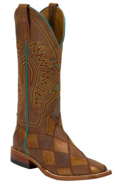 Anderson Bean Ladies Brown & Tan Crazy Train Patchwork Square Toe Cowboy Boots