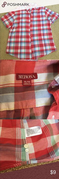 Merona summer plaid button down shirt XL Merona summer plaid button down shirt. Size XL. Extra buttons inside. No holes or stains. Comes from a smoke free home Merona Shirts Casual Button Down Shirts