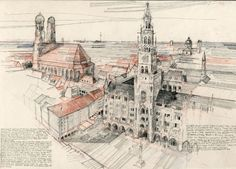 Benedict O'Looney, Manienplatz Munich, 2009. Pencil and colour pencil.The drawing has a fantastic composition of diagonals and horizontal thirds. The point of interest (city hall) is most detailed, while the rest, like the roofs in the background, is abstracted into lines. This enables the landmarks in the drawing to stand out.