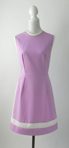 Vintage 1960s light purple lilac & white trimmed polyester dress. Mod, space age style with slight A-line shape to skirt. Unlined, back metal zipper and uni