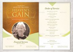 Single Fold Floral Memorial Service Program Template Printable