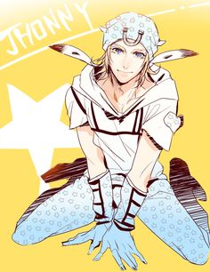 1boy blonde_hair blue_eyes hat johnny_joestar jojo_no_kimyou_na_bouken kneeling looking_at_viewer lovehammer solo steel_ball_run