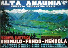 Manifesto pubblicitario (1920) - #Ferrovia alta Anaunia - Venezia Tridentina