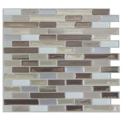 "Mosaik Muretto Durango 10.20"" x 9.10"" Peel & Stick Wall Tile in Beige. Gray & Silver & Reviews | AllModern"